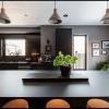 black tilt turn window, black picture windows and REHAU Fenix surfaces